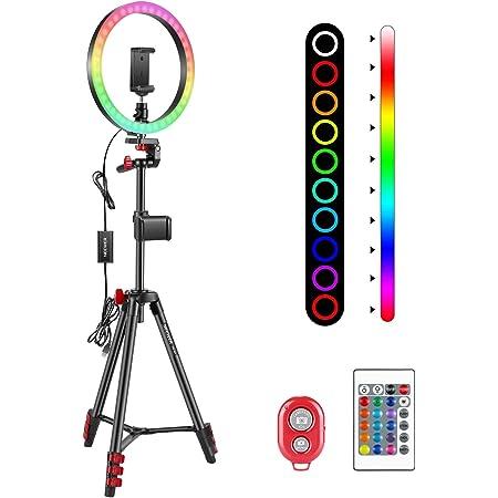 """Neewer 10"""" Luce Anulare RGB da Selfie con Treppiedi & Supporto Clip per Smartphone, Telecomando a Infrarossi, Dimmerabile a 16 Colori & 4 Modalità di Flash, per Truccatura Streaming YouTube TikTok"""