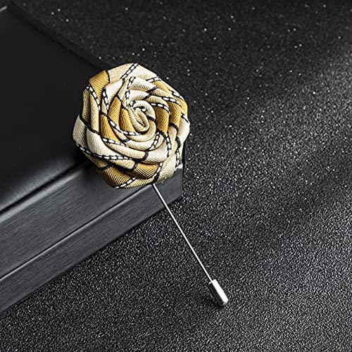SHUJIA Handgemachte Tuch Art Rose Blume Brosche Ribbon Lange Nadel Revers Pin Anzug Hemd Corsage Wedding Collar für Männer