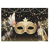 Allenjoy Mardi Gras Carnevale mascherato sfondo fotografico mascherato oro maschera ballo danza vestito festa decorazione striscione forniture champagne sfondo foto prop immagini 7x5ft