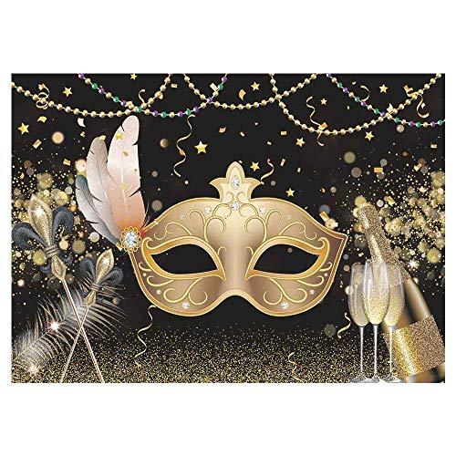 Allenjoy Mardi Gras Carnaval Masquerade Fotografie Achtergrond Goud Masker Prom Dans Dress Up Party Decoratie Banner benodigdheden Champagne Achtergrond Photo Booth Prop Foto's 7x5ft
