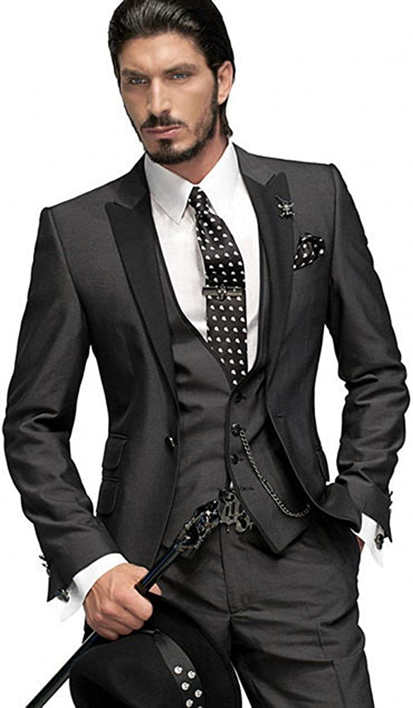 Botong Dark Grey Groom Tuxedos Pieces Wedding Our shop OFFers the best service Super popular specialty store 3 Men Suits