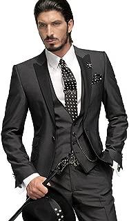 Dark Grey Groom Tuxedos 3 Pieces Men Suits Wedding Suits for Men
