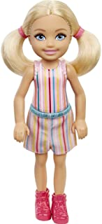 Barbie Chelsea Doll (6-inch Blonde) Wearing Skirt with Striped Print and Pink Boots, Gift for 3 to 7 Year Olds