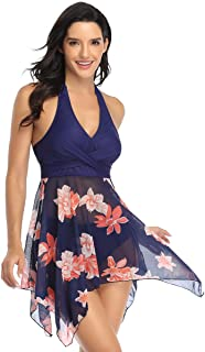 Women's Plus-Size Two Pieces Swimdress Swim Backless Dresses Peplum Swimsuit Mesh Skirt Bikini Shaping Body Black Tummy Co...