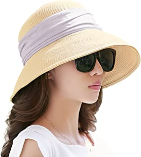 Siggi Womens UPF 50+ Packable Summer Sun Straw Hat Wide Brim Foldable Adjustable for Lady
