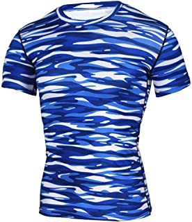 Men's Camo Compression Workout Tight T-Shirt Short Sleeve Cool Dry Moisture Wicking Cycling Running Base Layer Tops,C,S