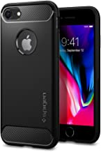 Spigen [Rugged Armor] iPhone 7 Case, iPhone 8 Case Cover with Flexible Durable Shock Absorption and Carbon Fiber Design for iPhone 7 (2016) iPhone 8 (2017) - Black