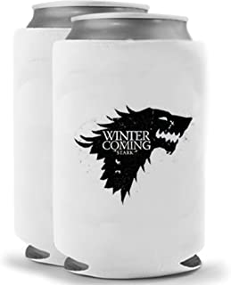 Stark House Dire Wolf - Winter is Coming   Set of Two (2) Funny Novelty Can Cooler Coolie Huggie - Game of Thrones Theme   Beer Beverage Holder - Beer Gifts Home - Neoprene No Fade Can Cooler