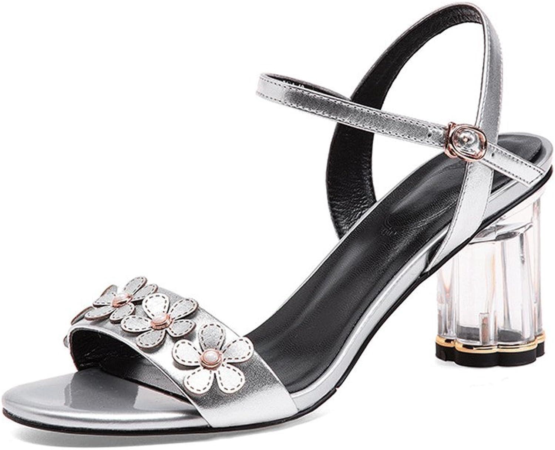 Shanxi Yaoyao Yeye Trading Co, Ltd. Sommer Europa und Amerika Offene Spitze Schuhe mit Hohen Absätzen Starke Ferse Ledersandalen Blaumen Damenschuhe Mode    Kompletter Spezifikationsbereich