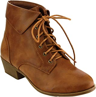 EC89 Women's Foldover Lace Up Low Chunky Heel Ankle Booties
