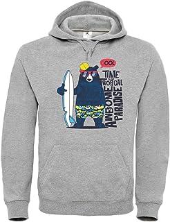 Sudadera con capucha, diseño de oso, gafas de sol con dibujos animados, unisex, para niños y niñas