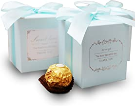 Doris Home 50 pcs 250GSM 2.8X2.8X3.1inch Blue Birthday Wedding Party Favor, Wedding Gift Bags Chocolate Candy and Gift Boxes with Ribbon Bridal Shower Party Paper Gift Box