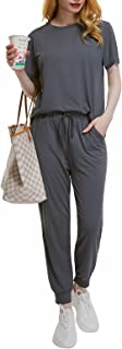 Women's 2 Piece Lounge Outfit Sets Solid Color Short...