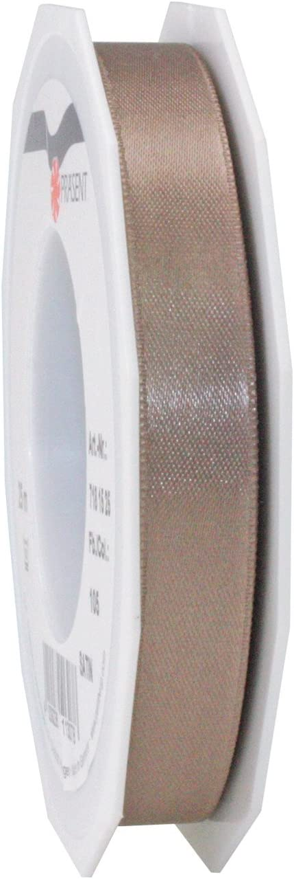 Prasent 15 mm 25 m Satin Face Ribbon Louisville-Jefferson County Max 45% OFF Mall Taupe Roll Double