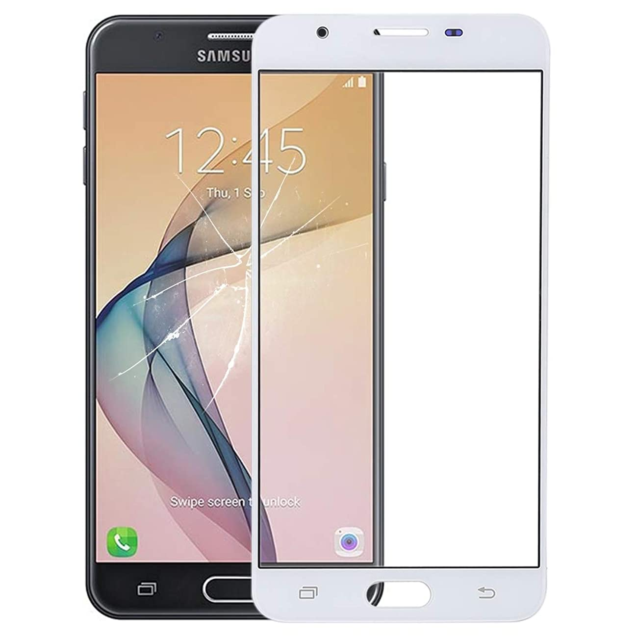 DELANSHI for Galaxy J7 Prime, On7 (2016), G610F, G610F/DS, G610F/DD, G610M, G610M/DS, G610Y/DS Front Screen Outer Glass Lens (Color : White)