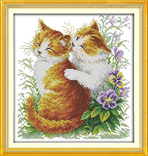 Joy Sunday kits de costura a mano de punto de cruz DIY 11CT estampado para principiantes patrón preimpreso-gatos que besan
