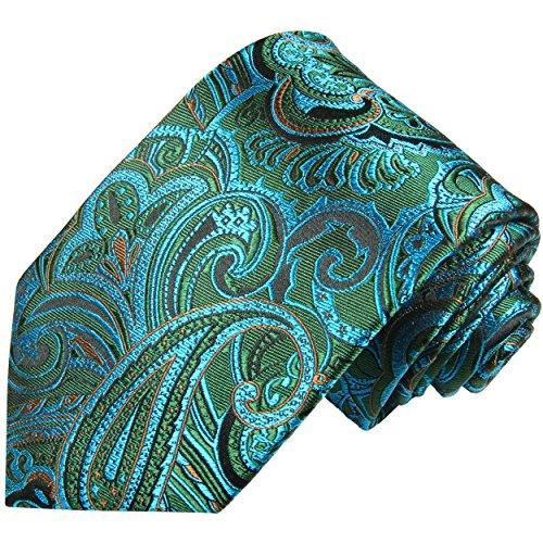 Paul Malone Cravate homme bleu vert paisley 100% soie