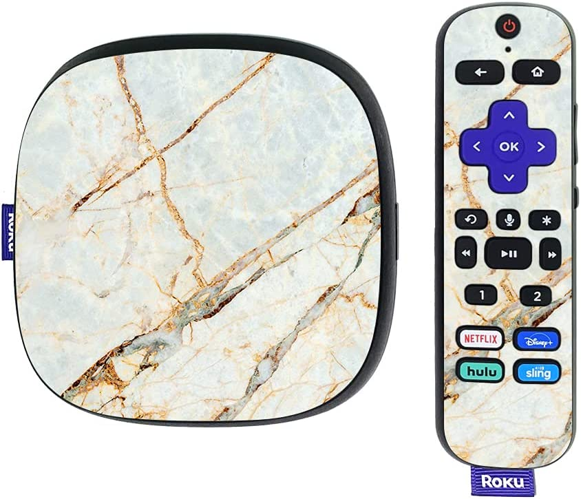 MightySkins Skin Compatible with Roku Ultra HDR 4K Streaming Media Player (2020) - Antique Marble   Protective, Durable, and Unique Vinyl Decal wrap Cover   Easy to Apply   Made in The USA