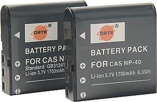 DSTE 2-Pieza Repuesto Batería para Casio NP-40 NP-40DBA NP-40DCA Exilim EX-FC100 EX-FC100WE EX-FC150 EX-FC150BK EX-FC150RD EX-FC160S EX-Z400 Exilim Pro EX-P505 EX-P600 EX-P700 Exilim Zoom EX-Z100 EX-Z1000 EX-Z1000BE