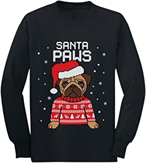 Santa Paws Pug Ugly Christmas Sweater Dog Toddler/Kids Long Sleeve T-Shirt