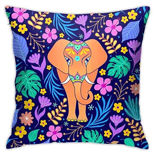 QUEMIN Elefante y Flores Tropicales, Hojas, Fundas de Almohada, 18x18 Pulgadas, decoración del hogar, Funda de Almohada, Fundas de cojín para sofá, Dormitorio, Sala de Estar