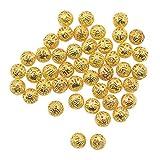 100pcs 8mm Charmes Ronde En Métal Perles D'espacement Fabrication Bijoux Bricolage Faisant Doré