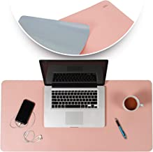 Desk Mat Pink & Blue 17x36 | Computer, Laptop, Keyboard & Mouse Pad Organizer | Leather Cover Office Table Protector | Double Side Gaming Surface with Colors | Typing & Writing Accessories
