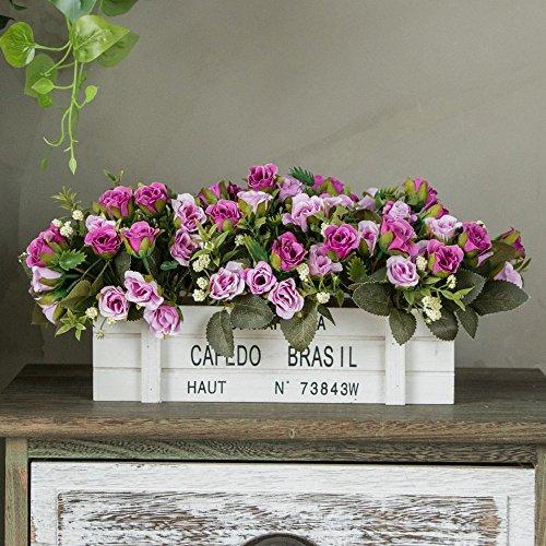 Jnseaol Fleurs Artificielles Arrangement Floral Bonsaï Pot en Bois Décoration pour Maison, Jardin, Cuisine, Mariage Et Magasin pour Amie Saint Valentin, Fête des Mères Violette