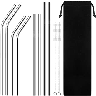 Set of 8 Reusable Portable Drinking Stainless Steel Straws for 30oz / 20oz Tumblers with 2 Cleaning Brushes and Velvet bag...
