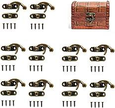 50 Sets Antieke Bronzen Toon Rechts Klink Haak met Schroeven, DIY Bag Hasp, Houten Sieraden Doos Decoratie, 50 Sets