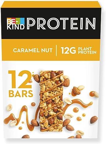 BE-KIND Barrita Proteina de Tostado con Frutos Secos, Caramelo, 600 Gramos, Paquete de 12 Unidades