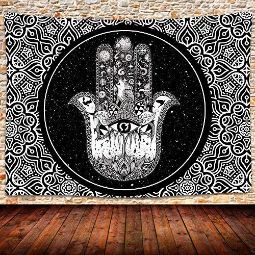 QJIAHQ Hamsa - Tapiz de mano de Fátima para la buena suerte, diseño de mandala indio, hippie, espacial, cielo estrellado, para colgar en la pared, colcha bohemia, 80 x 60 pulgadas