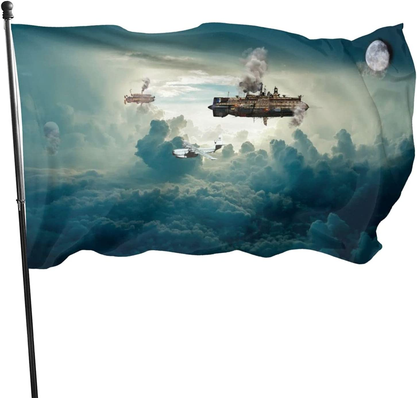 pengyong Garden Flags Airships Clouds Steampunk House Decorations for Indoor & Outdoor,Durable Yard Flag(35 Ft)