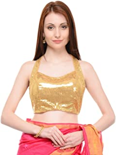 NIKA Women's Gold Sequinned Halter Style Blouse