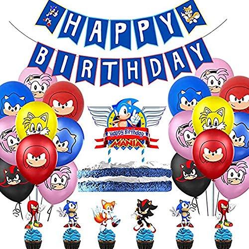 Vercico Sonic set Compleanno Decorazione per Feste Buon Compleanno set Gagliardetto Cartoon per Bambini con Palloncini Bandiera e Cake Topper Decorazioni
