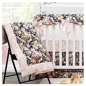 Baby Bedding Set Crib Bedding Girl boy Bedding Toddler Nursery Bedding Set with Bumper Floral Rose Navy Pink