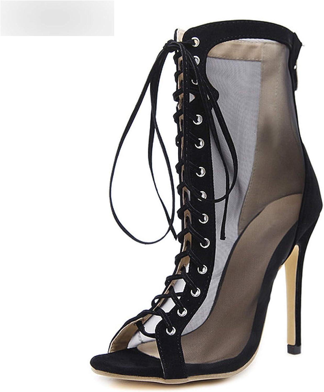 RAINIE002 Summer Sandals Gladiatorwomen Sexy Lace Front Open Cross Strap Stilettos Pumps Woman Ankle Boots Size 35-40