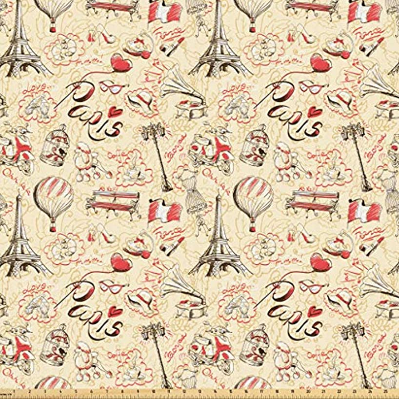 Lunarable Paris Fabric by The Yard, French Culture Doodle with Airship Croissants Coffee Hat Sunglasses Lipstick, Microfiber Fabric for Arts and Crafts Textiles & Decor, 3 Yards, Yellow Red Black