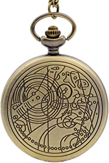 Doctor Who Bronze Golden Dial Vintage Mens Womens Quartz Pocket Watch Necklace Chain Watch P063