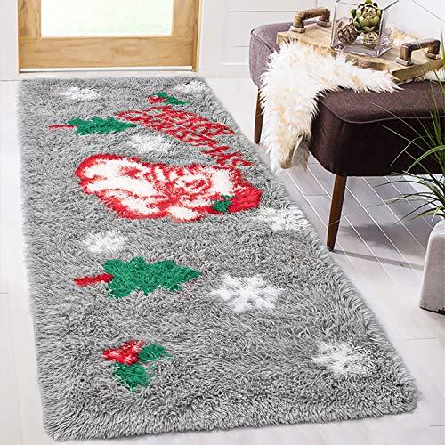 ISEAU Christmas Area Rug, Santa Claus Fluffy Rugs Non Slip Durable Comfort Rug Floor Carpet Door Mat for Entryway Living Room Bedroom Sofa Bathroom Kitchen Home Decor, 2ft x 6ft