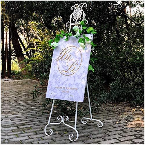 Nai-tripod Zhou Chevalet en Fer Forgé, Porte-Affiche Pliable Et Réglable, Présentoir De Bienvenue pour Mariage, Support De Trépied Au Sol, Support De Carte De Menu yan (Color : White)