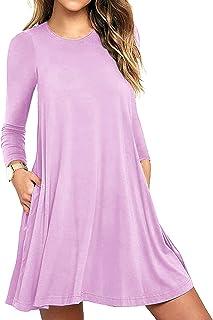0d87ff50f2ff HAOMEILI Women's Sleeveless Long Sleeve Pockets Casual Swing T-Shirt Summer  Dress