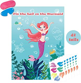 Pin The Tail On The Mermaid Game Large Mermaid Poster Under the Sea Party Games For Kids Mermaid Party Supplies