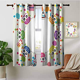 PRUNUSHOME Colorful Funny Owls Kitchen Curtains Short, Window Curtain Tiers for Cafe, Bath, Laundry, Bedroom(Set of 2 Panels,42 by 45 Inch)
