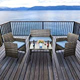 GOJOOASIS 4PCS Outdoor Patio Garden Furniture Sofa Set Wicker Rattan Sofa Sectional Conversation Set Blue Cushioned Seat