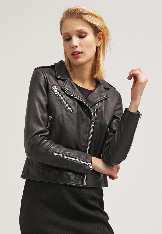 Women's Leather Jacket Black Slim fit Biker genuine lambskin jacket ( 58 )