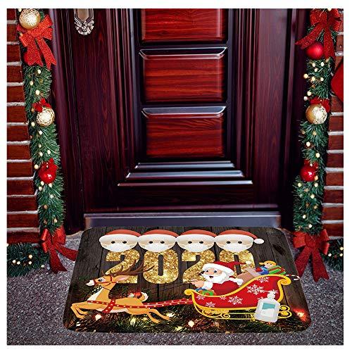 Christmas Doormat Quarantine Survivor with Face_Macks Personalized Welcome Door, Christmas Decorative Welcome Floor Mats for Indoor Outdoor Home Garden, Xmas Personalized Keepsake Decorations (Brown)