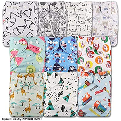 Reusable Pocket Cloth Nappy Littles /& Bloomz with 10 Bamboo Charcoal Inserts Set of 10 Patterns 1008 Fastener: Popper