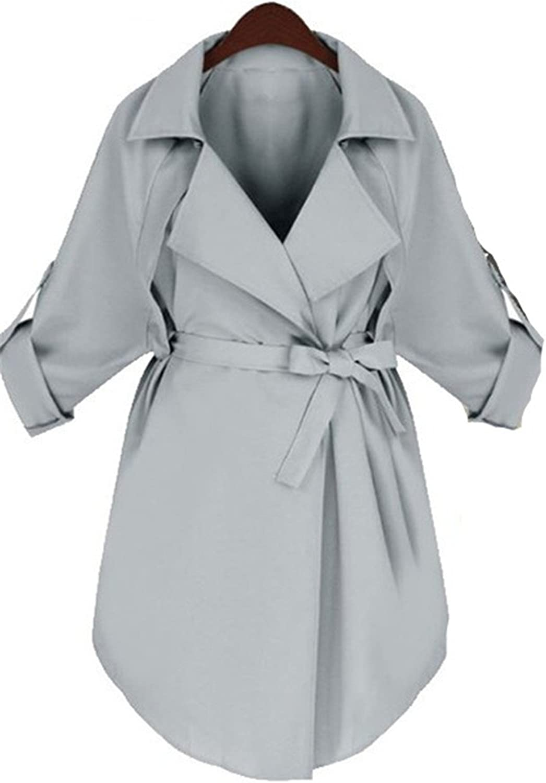 Reedbler Autumn Women Trench Coat Long Classic bluee Windbreaker Trench Quarter Sleeve Loose Coat with Belt