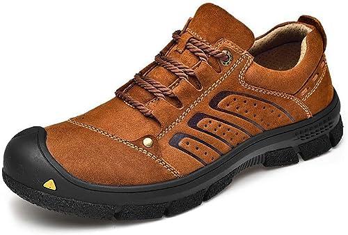 YUL Chaussures de marche Hommes Chaussures de randonnée Chaussures d'escalade en cuir, Chaussures de course à enfiler Chaussures de sécurité pour la randonnée